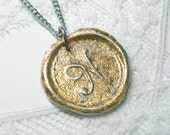 NEW Brilliant gold flake wax seal pendant, Letter of your choice