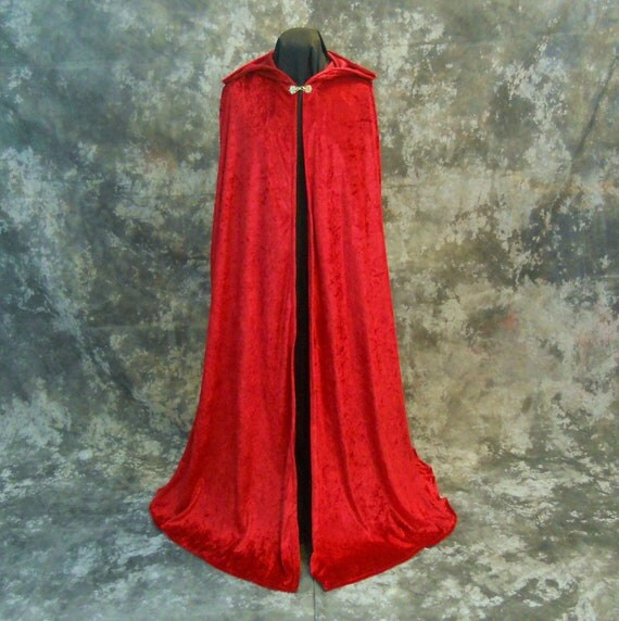 Hooded Red Velvet Cape - Little Red Riding Hood - Renaissance Costume - Wizard Witch Cloak - Medieval Camelot - READY TO SHIP