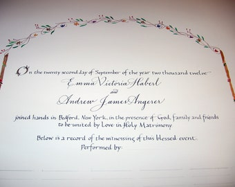 Quaker Wedding Certificate - flowers - fall colors - original calligraphy and painting