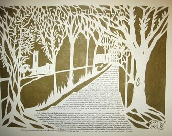 Swarthmore College Walk papercut artwork ketubah - ketuba - wedding - calligraphy