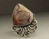 Mexican Crazy Lace Agate Sterling Silver Ring Size 7.5  Free US Shipping