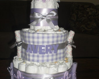 Purple Butterfly Diaper Cake Baby Shower Centerpiece Girl Baby Shower other colors and sizes too