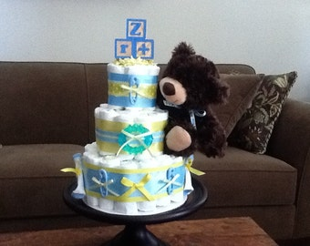 Blue and Yellow Blocks and Bears Diaper Cake Baby Shower Centerpiece other toppers and colors too