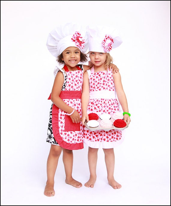 children 39 s apron and chef hat set includes one apron and. Black Bedroom Furniture Sets. Home Design Ideas
