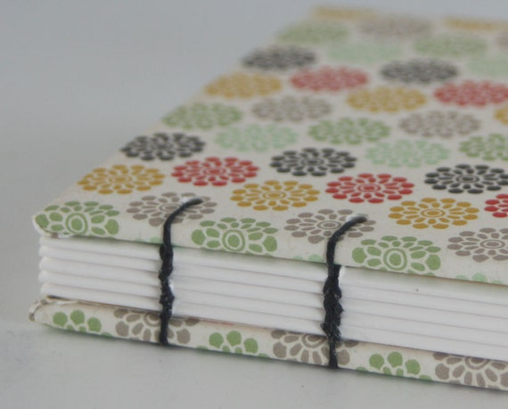 Retro Flowers Blank Hand Bound Journal