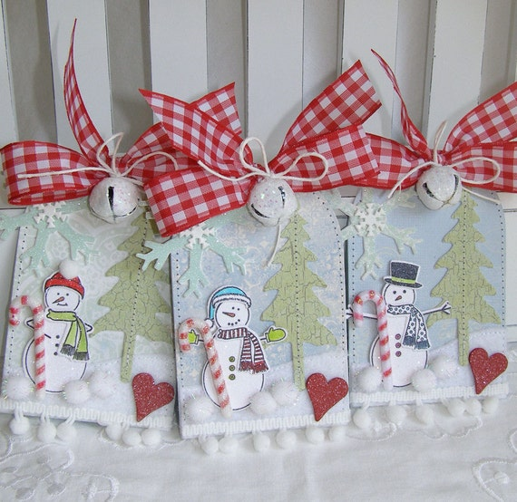 Shabby Chic Snowman Candy Cane Christmas Gift Tag Set