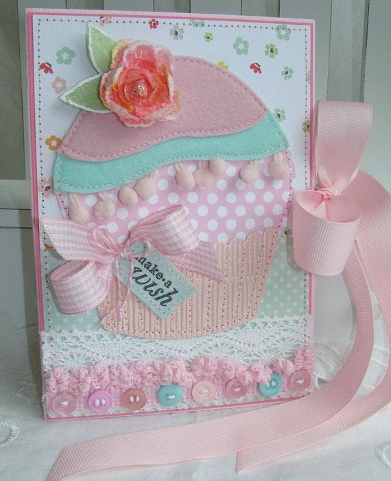 Shabby Chic Birthday Wish Pocket Handmade Card