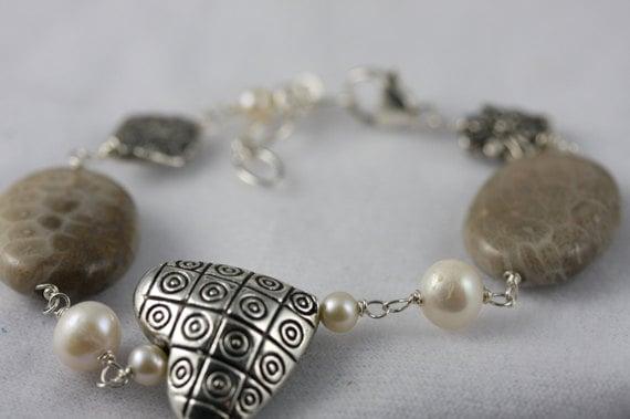 Pewter Heart Bracelet, Petoskey Stone Bracelet, Pearl Bracelet, Stone Jewelry, Sterling Bracelet