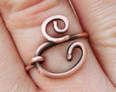 Oxidized. Copper. Letter. E. Initial. Ring.