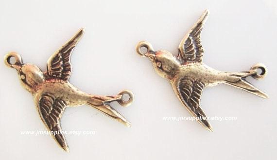 Brass Ox Flying Bird Charm