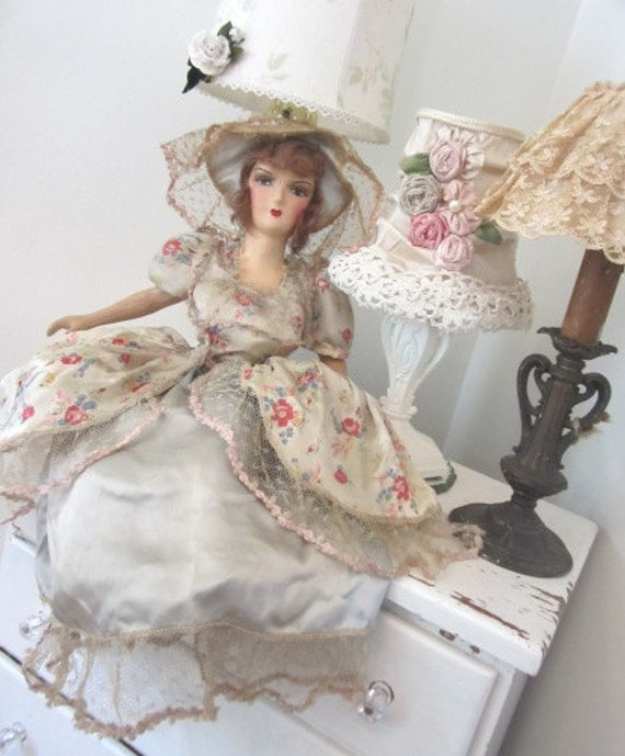 RESERVED SNOWYOWL12 - Antique Boudoir Doll c1920 Shabby French Vintage Ribbonwork and Lace