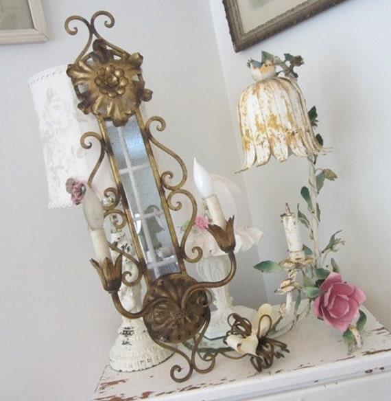 Vintage Tole Candelabra - Mirror - Sconce - Shabby French Cottage Paris Apt Prairie Chic