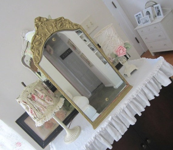 RESERVED LULUPSP - Antique Mirror - Arched - Ornate - Gilded - Vintage Rosettes - French Country - Paris Apt - Rococo - Art Deco