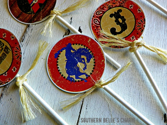 Cowboys & Indians Cupcake Toppers...Set of 12 Cupcake Toppers