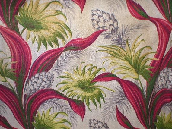 Vintage 40s Cotton Floral Bark Cloth Curtains 2 panels