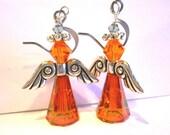 Orange Fairy Earrings Angel Earrings Swarovski crystal Artemis Earrings Angel wing earring handmade earring orange angel jewelry Made in USA