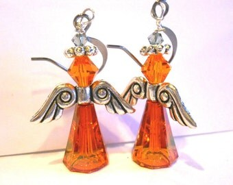 Orange Fairy Earrings Angel Earrings Swarovski crystal Artemis Earrings Angel wing earring handmade earring orange angel jewelry Made in USA