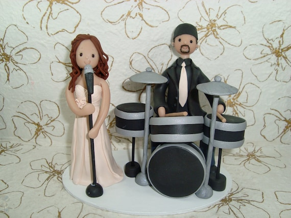 drummer wedding cake topper drummer amp singer personalized wedding cake topper 13755