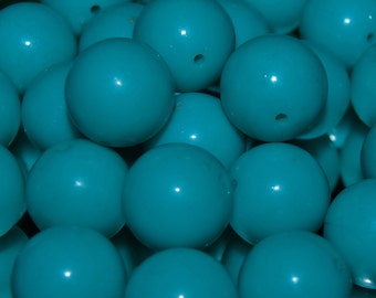 Vintage 24 Deep Turquoise Blue 12mm Round Lucite Beads N2R