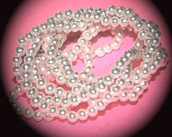 Vintage 2 Gross (288 beads) Pearl 4mm Acrylic Beads J2L