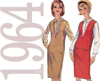 1960s Jumper Vintage Pattern - B32 - Simplicity 5572 - Mad Men Era Top, Blouse, Skirt Sewing Pattern - Junior Petite