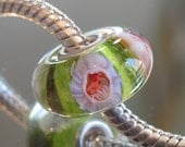 Tangled Sky Glass CUPCAKE Fully Sterling Silver Lined Lampwork Charm Bead For Chamilia, Troll