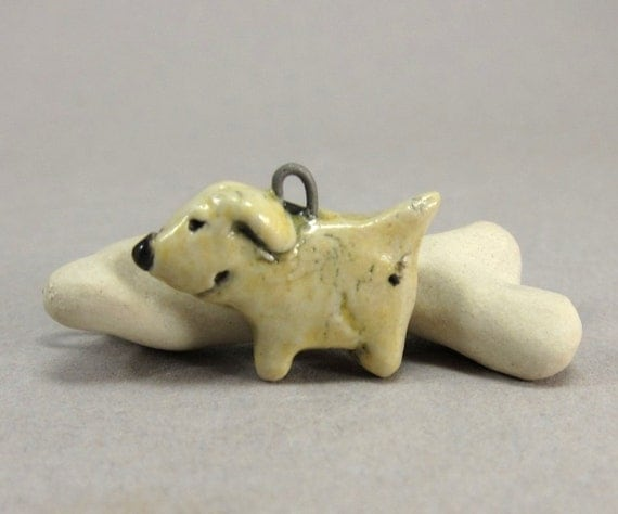 Big Dog in Small Body...Yellow Lab...Porcelain Charm/Pendant