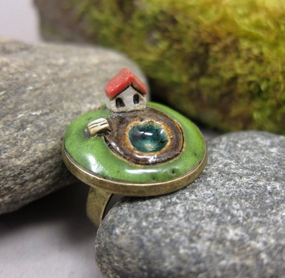 Private Lake...Miniature Landscape Ring in Stoneware