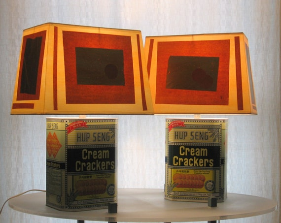 Cream Cracker tin table lamps - RESERVE FOR JENNY
