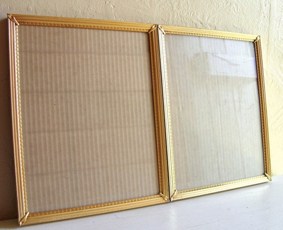 Matching Pair Vintage Gold Metal Filigree Picture Frames 8x10