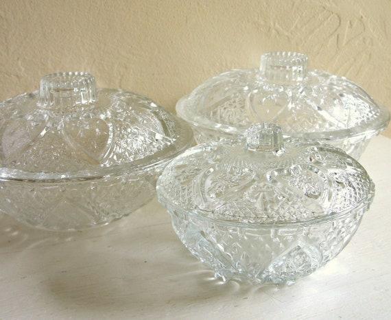 Three Matching Cut Glass Candy Bowls with Lids Set