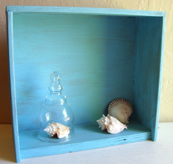 Rustic Turquoise Wood Curio Wall Shelf Hanging or Standing