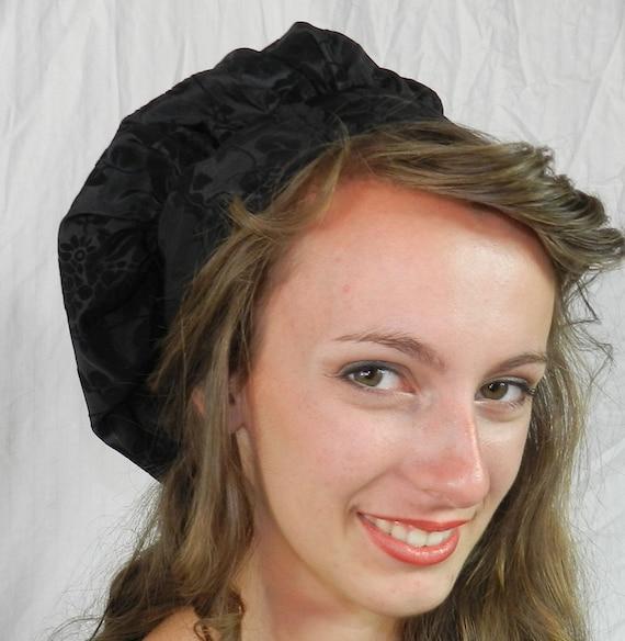 Muffin Hat in Black Flocked Taffeta
