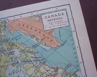 1929 Canada physical antique map - Vintage map to frame