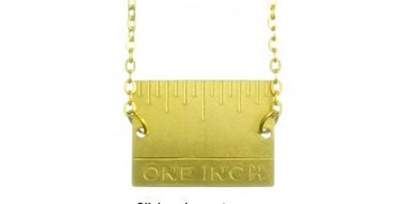 VTG Brass Ruler Necklace on Gold Plated Chain
