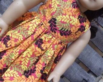 American Girl Doll Clothes - Orange Ferns Dress