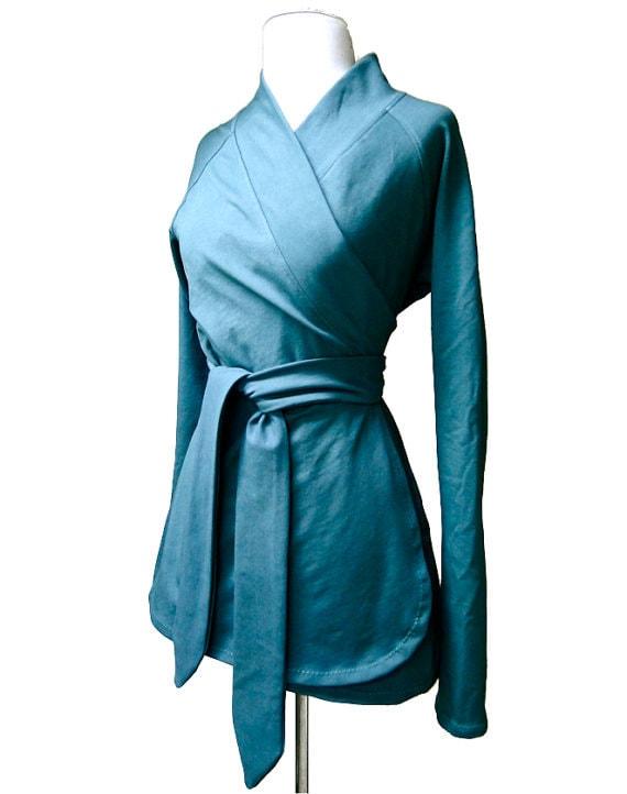 Organic cotton wrap, teal wrap shirt, wrap around blouse, wrap tunic, shawl collar top, custom made organic women's clothing