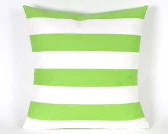 "Lime Green and White, Stripe INDOOR OUTDOOR Pillow Cover, 18"", 20"", 22"", 24"" Euro, 12 x 20"", 12 x 24"", 13 x 21"" Green White Throw Pillow"