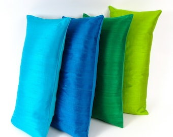 SILK PILLOWS Set of Four Multicolored -Aquamarine Silk Pillow - Cobalt Blue Silk Pillow -  Emerald  Green Silk Pillow - Lime Silk Pillow