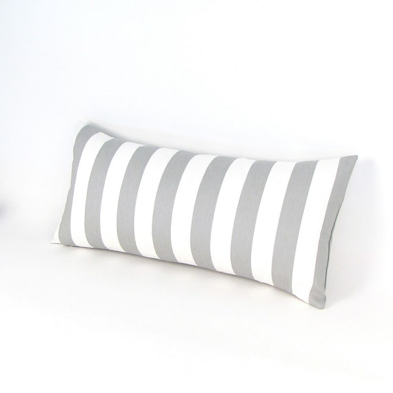 Gray and White Canopy Stripe Pillow Cover 12 by 24 inch - Grey Lumbar Pillow