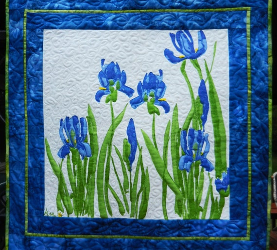 Blue Iris Wall Hanging, Vintage Vera Neumann Repurposed Cloth Napkin, Quilted Wall Hanging