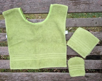 Montessori Apron Set in Green Terry Cloth (for Practical Life and Water Activities)
