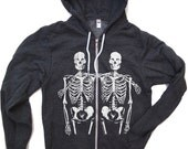 Unisex SKELETONS Flex Fleece Hoody in Dark Heather Grey - American apparel all sizes XS S M L XL