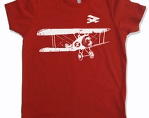 Kids Tee Vintage AIRPLANES Shirt - American Apparel Sizes 2 4 6 8 10 12 (3 Colors) - FREE Shipping