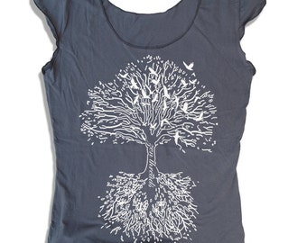 Womens ROOTS Tree Scoop Neck Tee  - american apparel T Shirt S M L XL (6 Color Options)