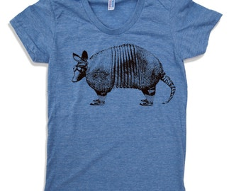 Womens ARMADILLO  T-Shirt -hand screen printed s m l xl xxl (+ Colors Available)