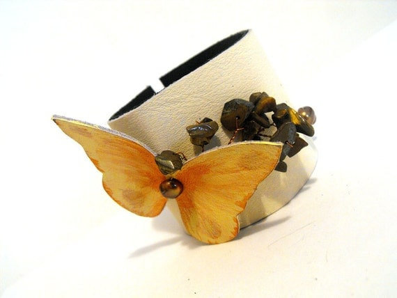 Tangerine Leather bracelet with butterfly