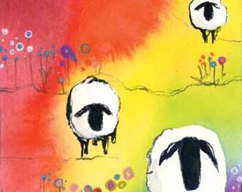 Sheep in Rainbow Vermont Blank Greeting Card handpainted