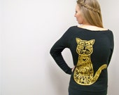 Womens sweatshirt, cat shirt, new years shirt, women sweater gift, off the shoulder sweatershirt, crazy cat lady, cats, black, gold