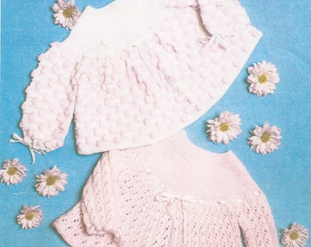 Baby Patterned Matinee Coat/ Angel Tops Knitting Pattern PDF (D177)